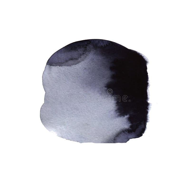As gotas bonitas da tinta da aquarela no Livro Branco, pintam a flor do sangramento, com o fluxo orgânico do círculo preto que ex ilustração royalty free