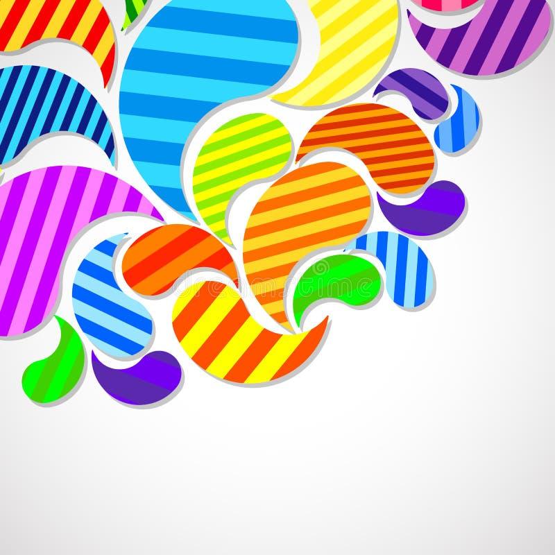 As gotas curvadas coloridas listradas brilhantes pulverizam em um fundo claro, projeto da cor do vetor, gr?fico ilustração do vetor