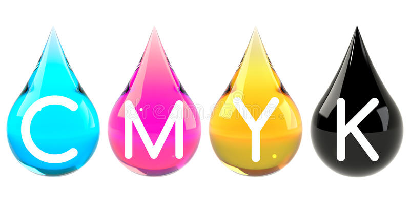 As gotas da tinta ajustaram CMYK ilustração royalty free