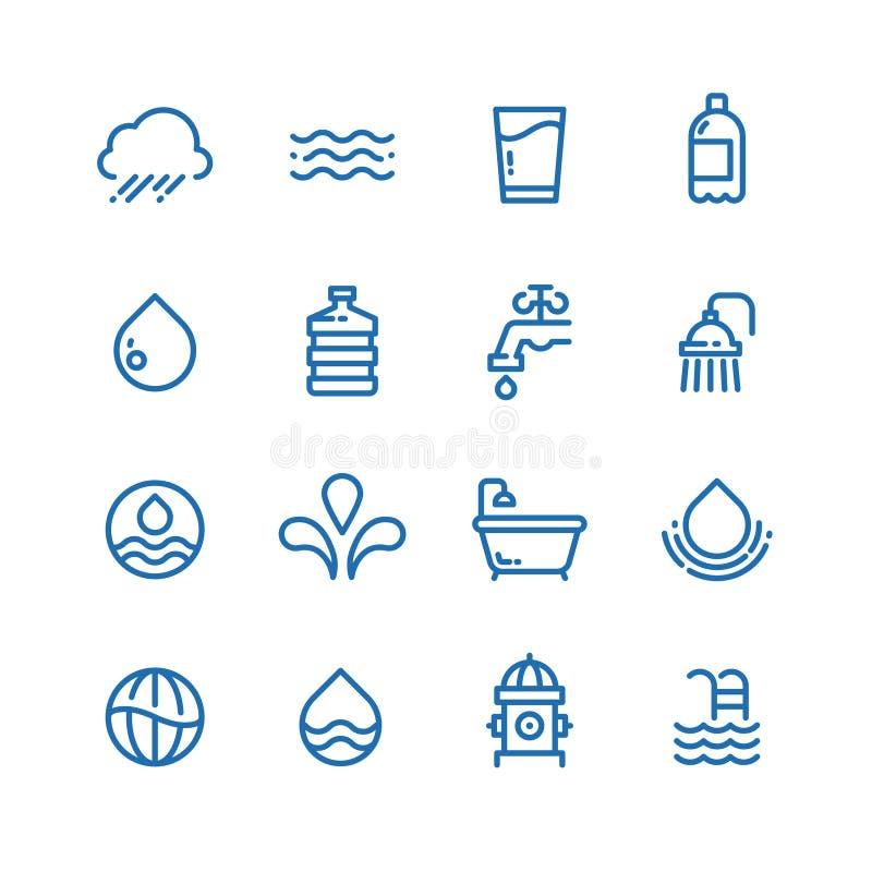 As gotas de cristal da agua potável, as bebidas frescas e a higiene alinham ícones do vetor ilustração do vetor