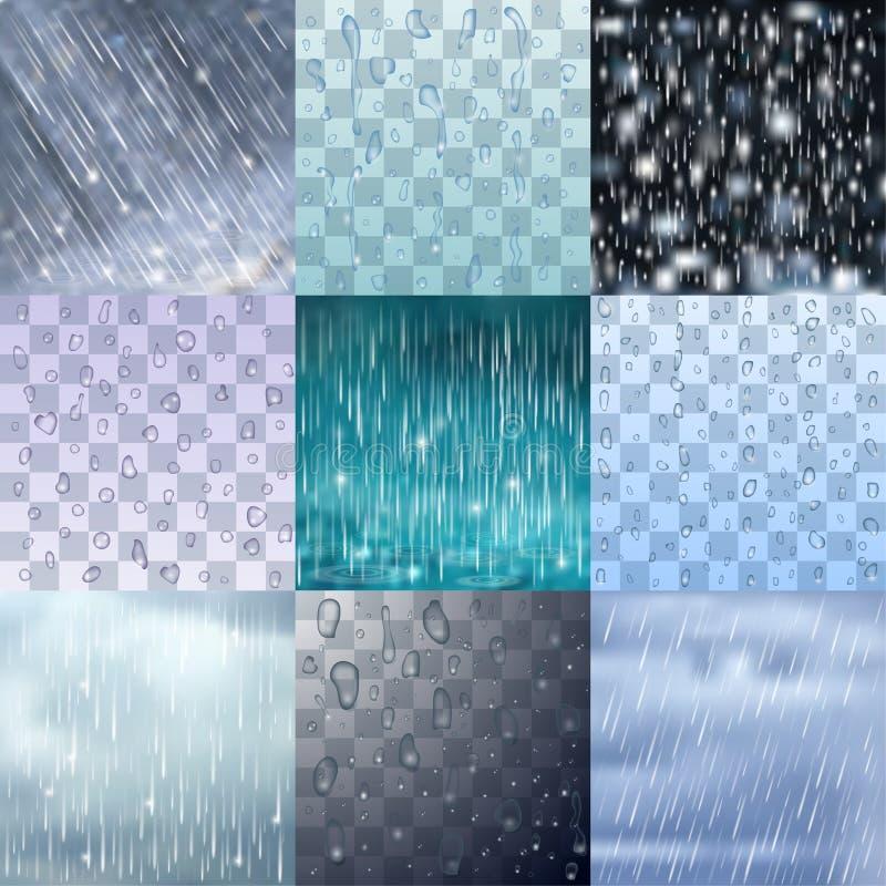 As gotas diferentes da chuva e as linhas chuvosas fundo vector a ilustração do pingo de chuva da água ilustração royalty free