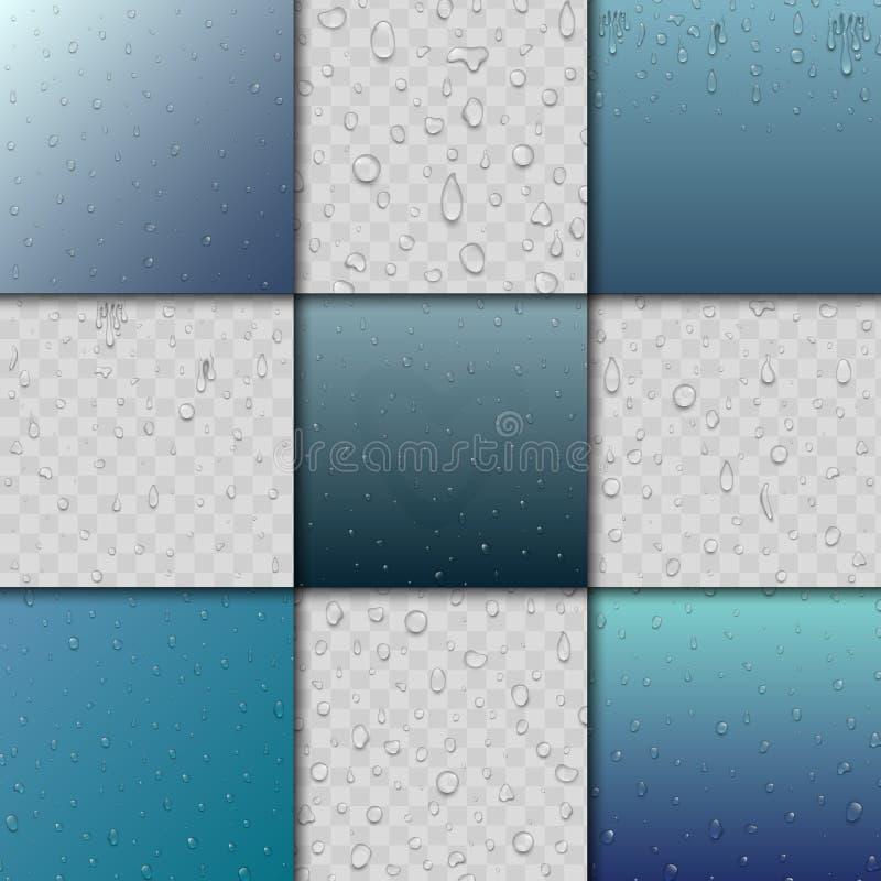 As gotas sem emenda e o respingo da água de chuva modelam a ilustração azul do pingo de chuva da natureza dos pontos do gotejamen ilustração do vetor