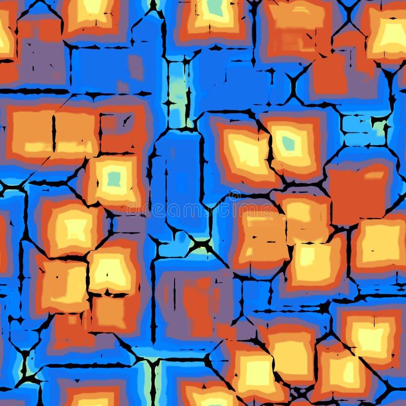 As gotas violetas azuis sem emenda abstratas do quadrado da pintura do amarelo alaranjado texture o fundo ilustração royalty free