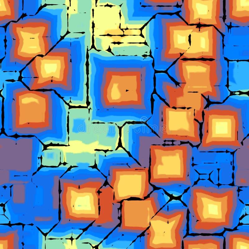 As gotas violetas azuis sem emenda abstratas do quadrado da pintura do amarelo alaranjado texture o fundo ilustração do vetor