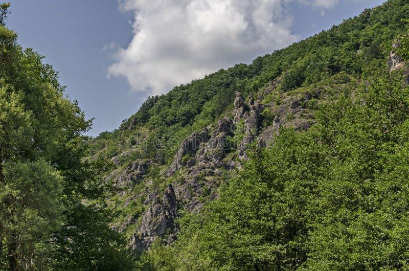As grandes e rochas bem formadas assemelham-se a seres humanos, a animais e a outros formulários estranhos do pico Garvanets ou d foto de stock