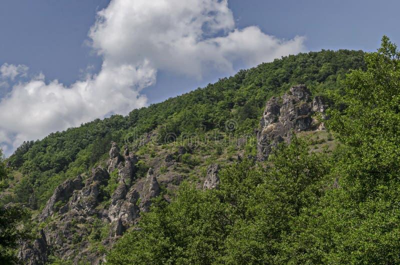 As grandes e rochas bem formadas assemelham-se a seres humanos, a animais e a outros formulários estranhos do pico Garvanets ou d fotografia de stock