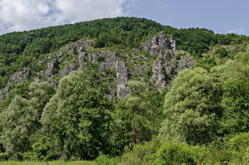 As grandes e rochas bem formadas assemelham-se a seres humanos, a animais e a outros formulários estranhos do pico Garvanets ou d imagem de stock royalty free