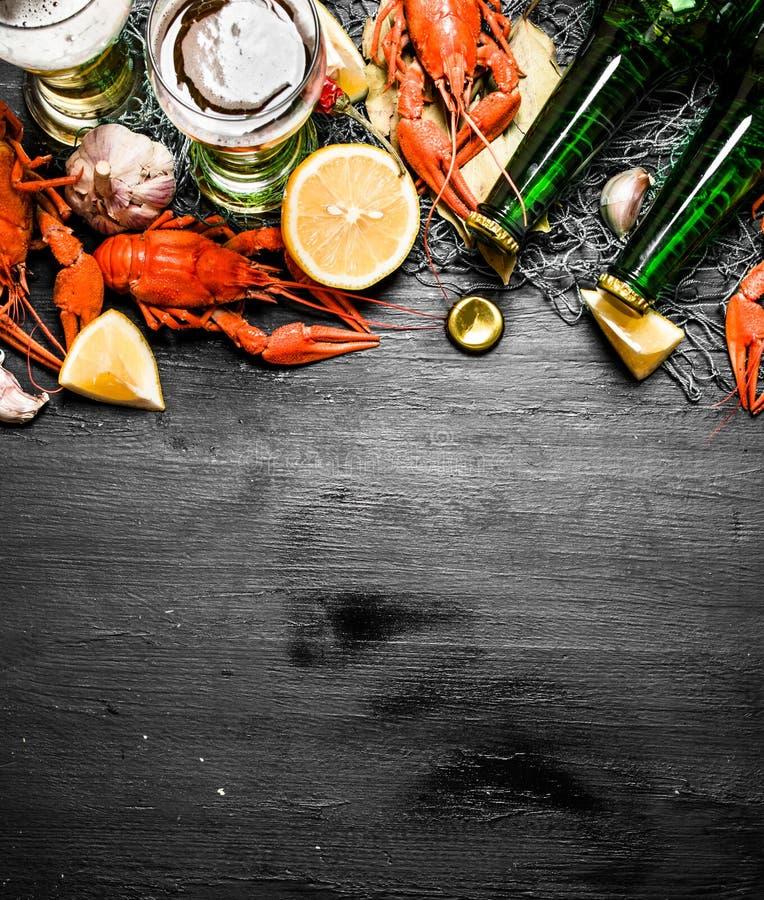 As guloseimas do alimento Lagostins fervidos com cerveja e especiarias fotos de stock royalty free