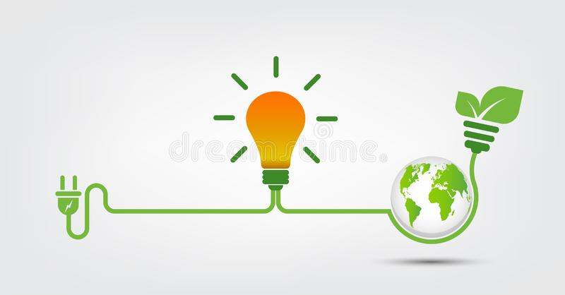 As ideias da energia salvar a ecologia do verde da tomada de poder do conceito do mundo, ilustra??o do vetor ilustração royalty free