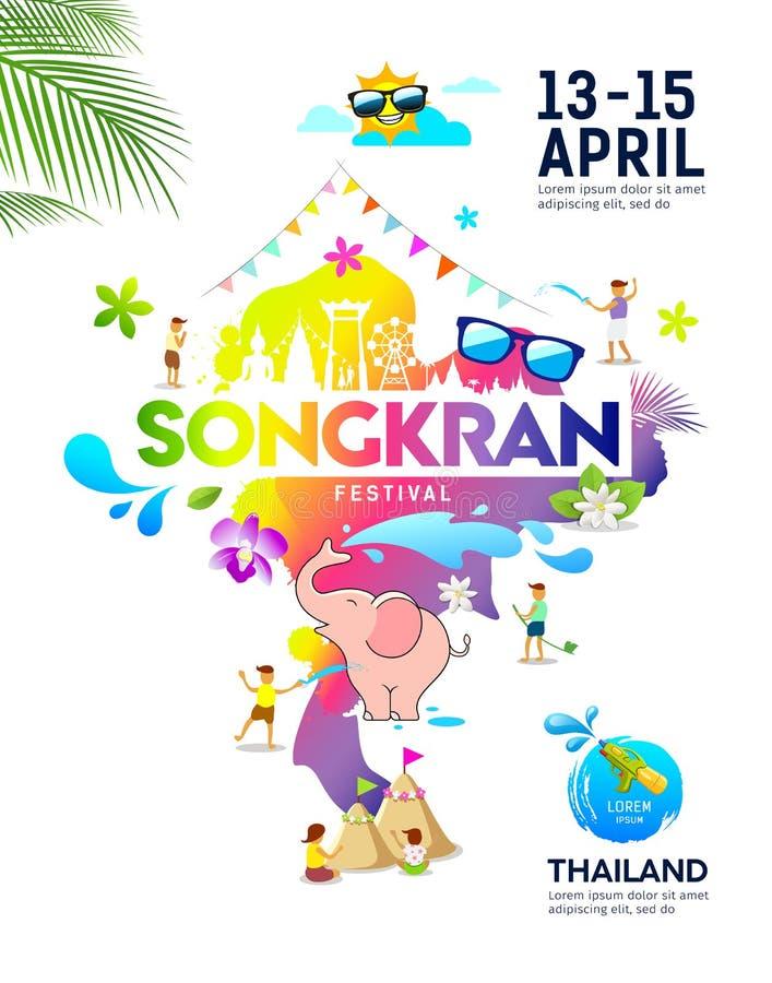 As ideias de surpresa do festival de Songkran traçam o cartaz colorido de Tailândia ilustração do vetor