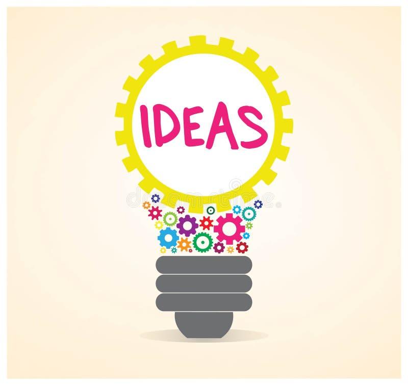 As ideias dentro de um vetor da ampola da engrenagem projetam ilustração stock