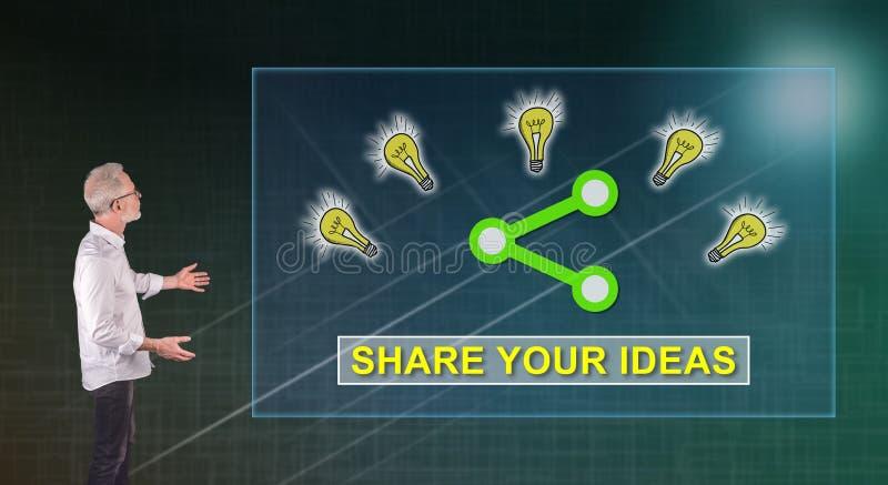 As ideias que compartilham do conceito explicaram por um homem de negócios em uma tela da parede imagens de stock royalty free