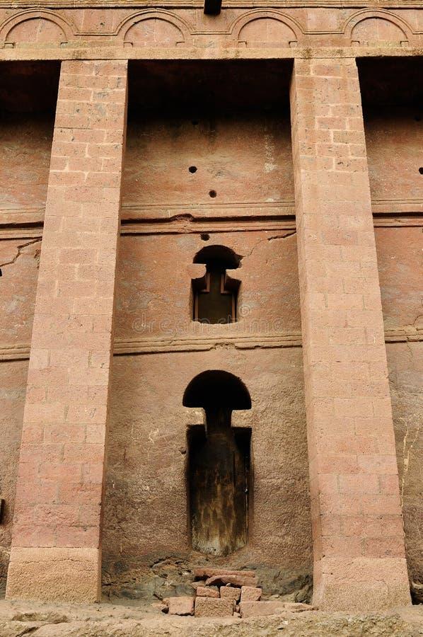As igrejas ortodoxas cinzelam na rocha contínua em Lalibela fotos de stock royalty free