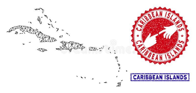 As ilhas das Cara?bas poligonais da carca?a tra?am e os selos do Grunge ilustração do vetor