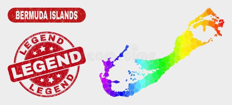 As ilhas de Bermuda do mosaico do espectro traçam e a filigrana da legenda do Grunge ilustração royalty free