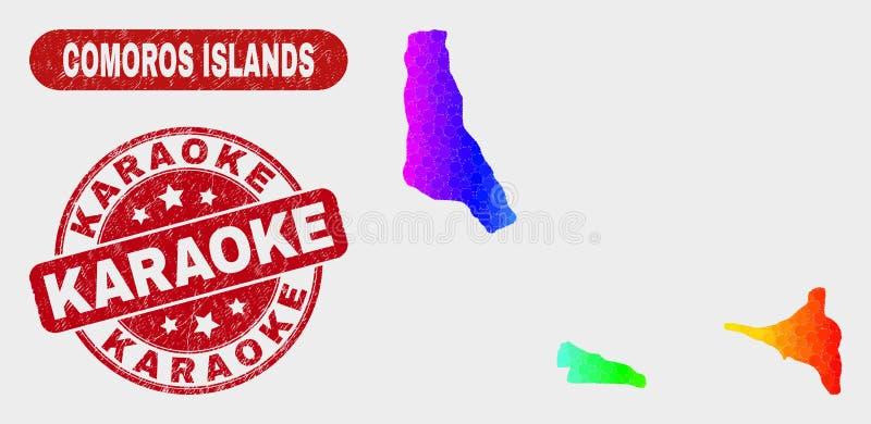 As ilhas de Comores coloridas do mosaico traçam e selo riscado do karaoke ilustração do vetor