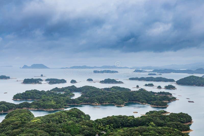 As ilhas famosas do kujuku negligenciam em Sasebo, Kyushu foto de stock