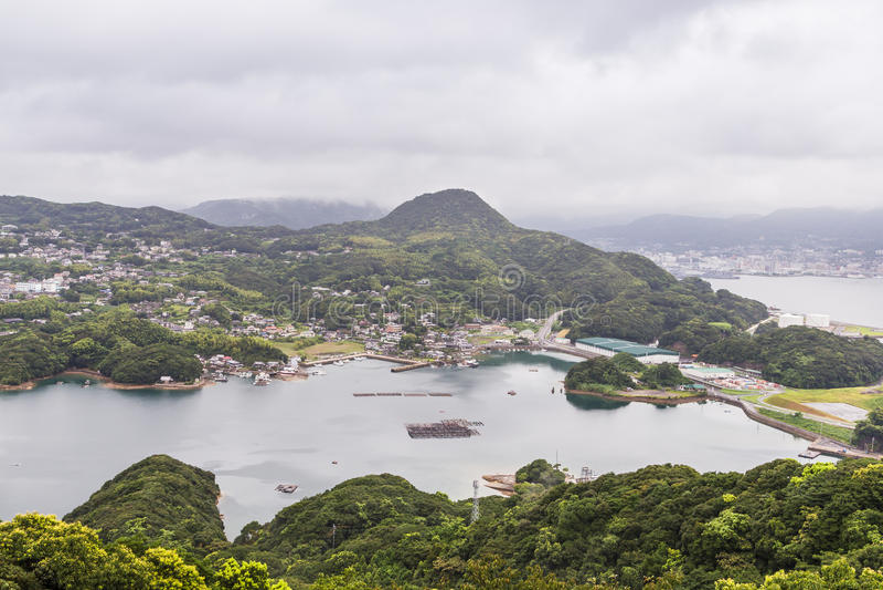 As ilhas famosas do kujuku negligenciam em Sasebo, Kyushu imagens de stock