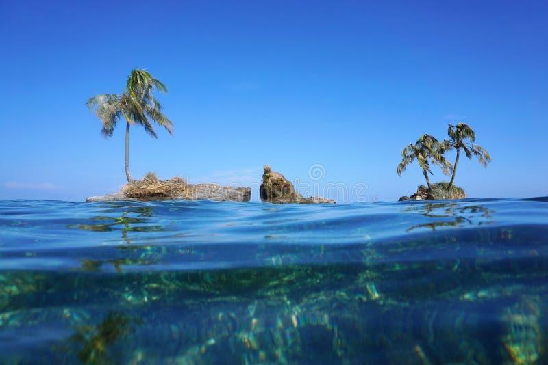 As ilhotas com a árvore de coco vista do mar surgem imagens de stock royalty free