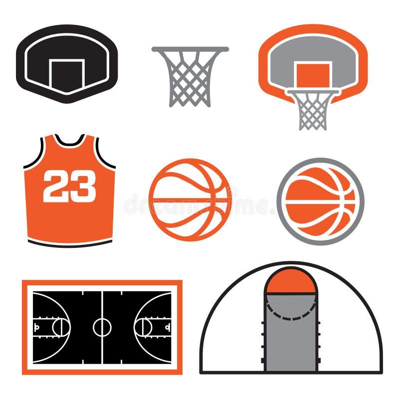 Ilustração dos elementos do basquetebol fotos de stock