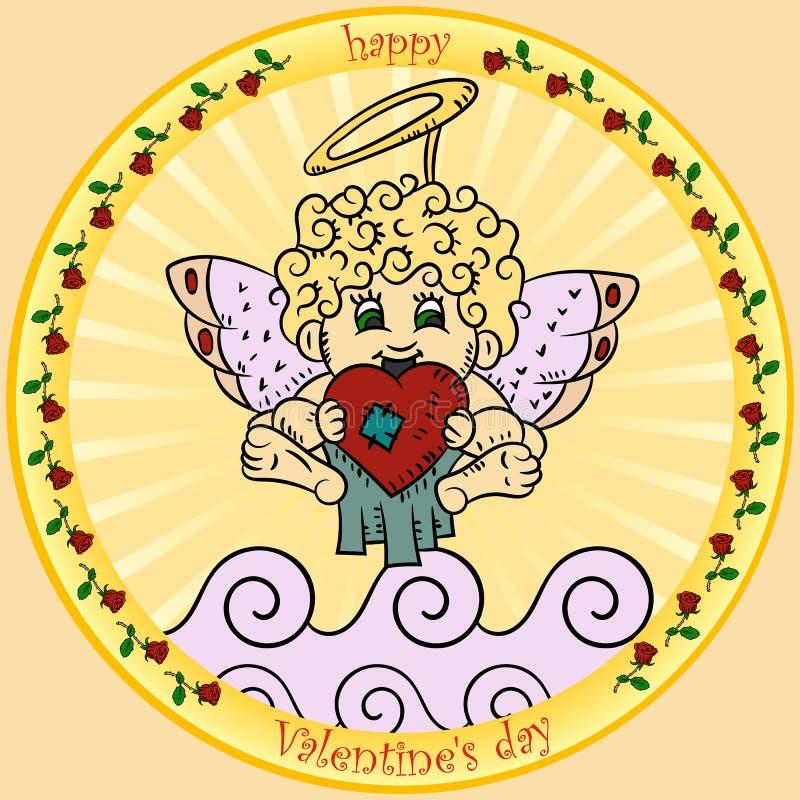 As ilustrações de cor ao estilo dos garranchos das crianças no tema do dia de Valentim, cupido estão guardando um assento do cora ilustração stock