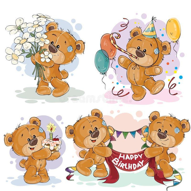 As ilustrações do clipart do urso de peluche desejam-lhe um feliz aniversario ilustração stock