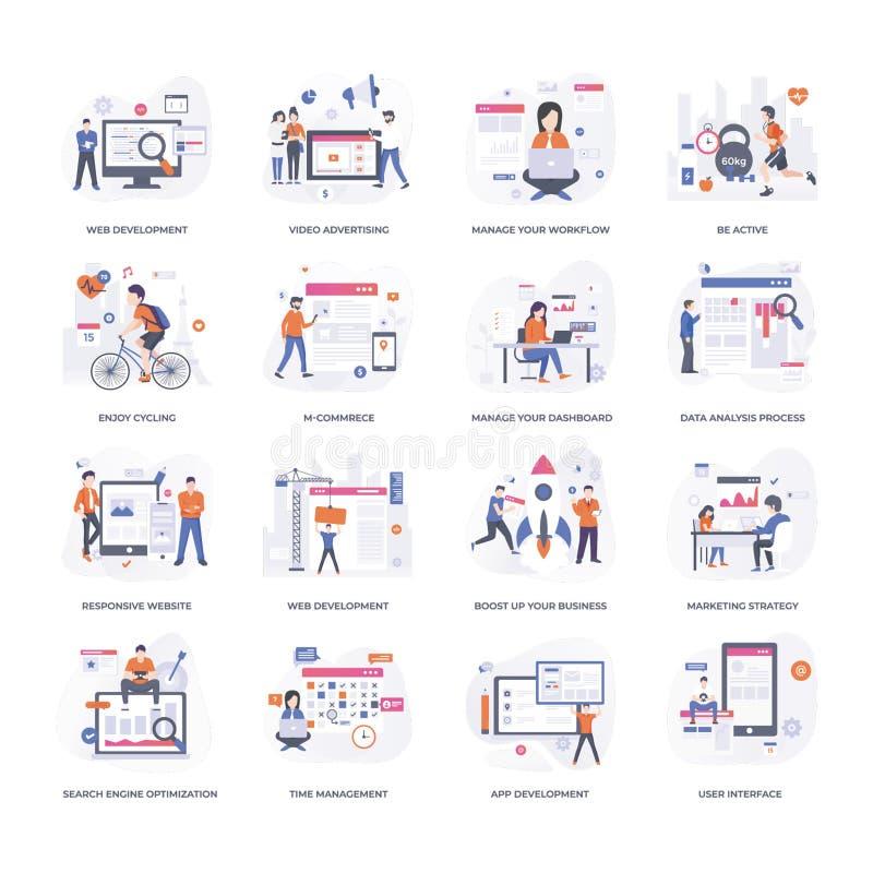 As ilustrações do desenvolvimento de projeto embalam ilustração royalty free