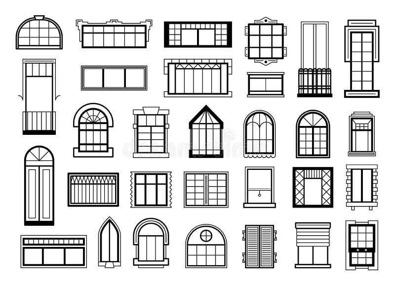 As ilustrações do vetor ajustaram-se com as silhuetas diferentes de quadros de janela ilustração do vetor
