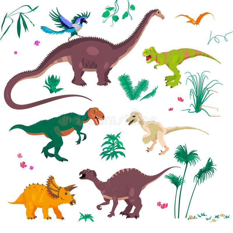 As ilustrações do vetor ajustaram-se de dinossauros dos desenhos animados e plantas tropicais, grama e pedras Conceito jurássico  ilustração royalty free