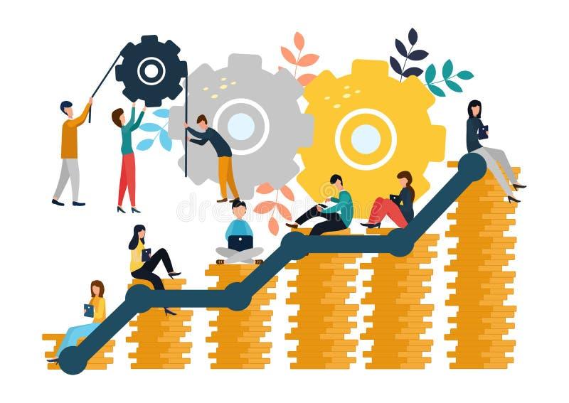 As ilustrações do vetor de gráficos de negócio, a empresa são contratadas na construção comum e no cultivo de lucros do dinheiro, ilustração do vetor