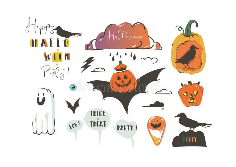 As ilustrações felizes tiradas mão de Dia das Bruxas dos desenhos animados do sumário do vetor party elementos do projeto com cor ilustração do vetor