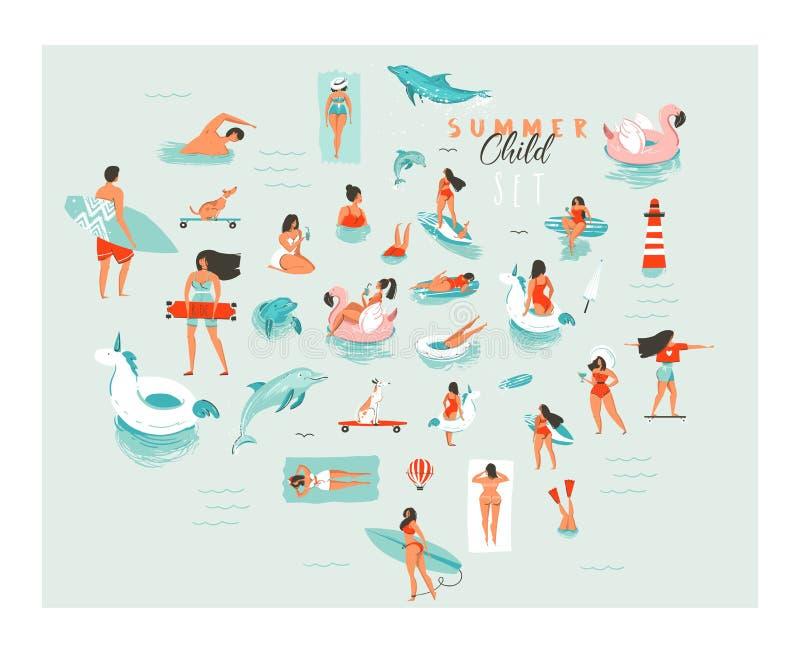 As ilustrações grandes tiradas mão da coleção do grupo dos povos da natação do divertimento das horas de verão dos desenhos anima ilustração stock