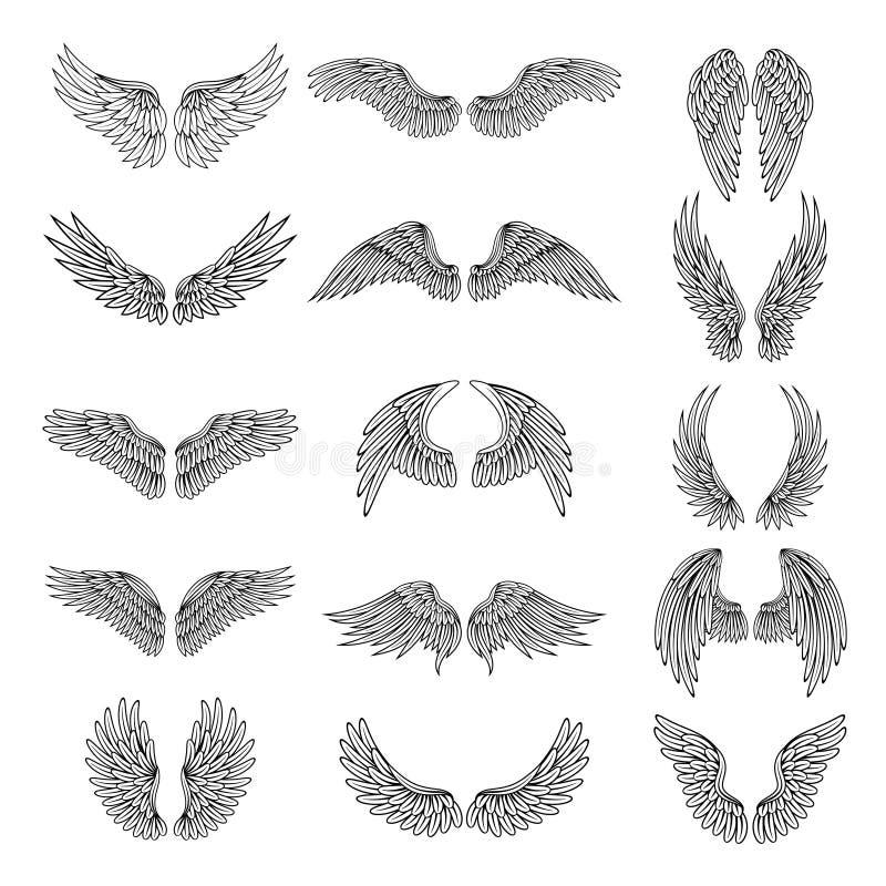 As ilustrações monocromáticas ajustaram-se das asas estilizados diferentes para logotipos ou etiquetas ilustração stock