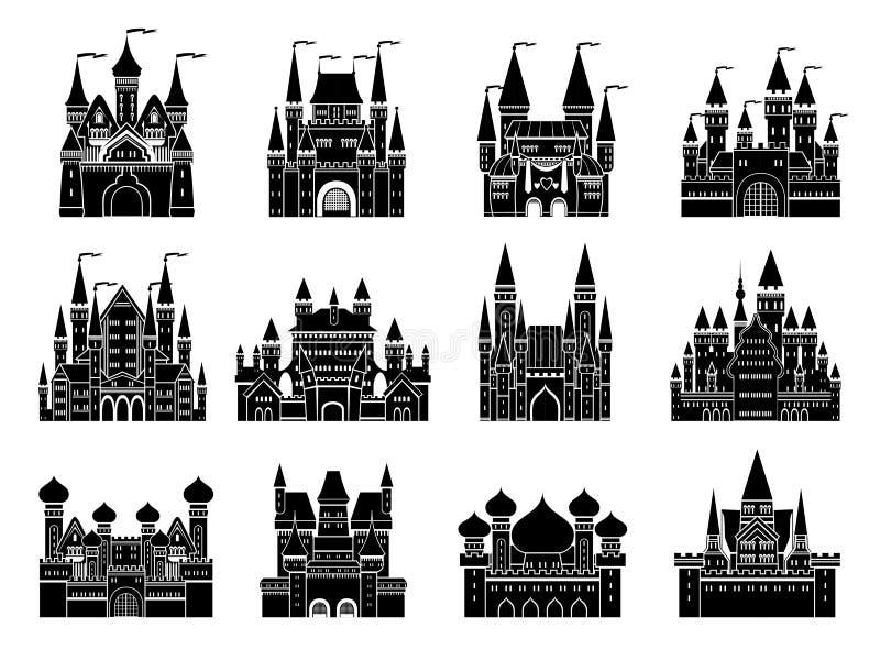 As ilustrações monocromáticas do vetor ajustaram-se com os castelos e as torres velhos medievais diferentes ilustração royalty free
