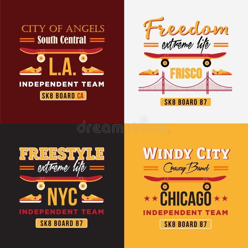 As ilustrações skateboarding do vetor ajustaram-se para a cópia em t-shirt ilustração stock