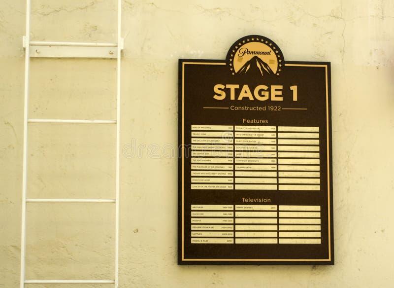 As imagens dos estúdios de Paramount, encenam 1 as características, excursão no 14 de agosto de 2017 - Los Angeles de Hollywood,  imagens de stock royalty free