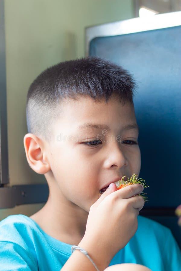 As imagens gostam de um menino que senta-se comendo o Rambutan imagens de stock