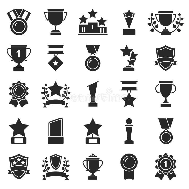 As imagens monocromáticas ajustaram-se de copos do vencedor e de troféus do esporte ilustração stock