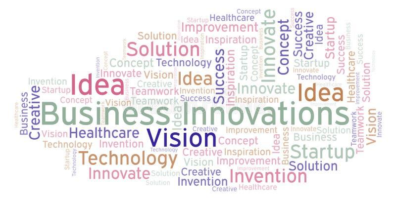 As inovações do negócio exprimem a nuvem, feita com texto somente ilustração royalty free