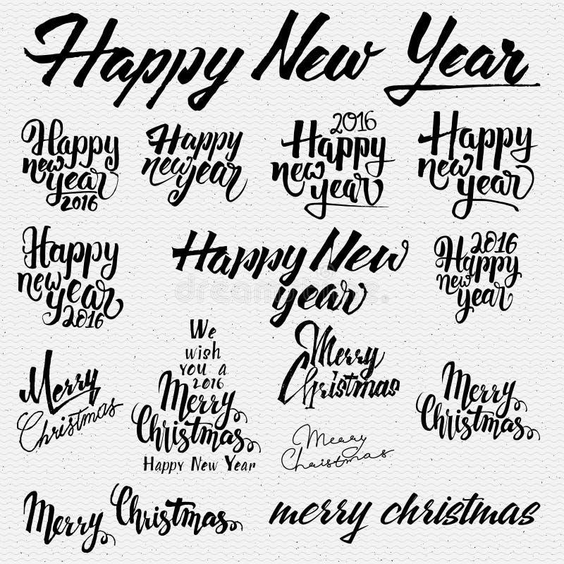 As insígnias e as etiquetas do Feliz Natal para alguns usam-se ilustração stock