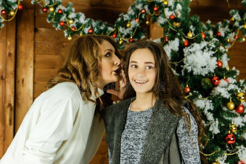 As irmãs compartilham de um segredo, antes dos feriados do ano novo foto de stock