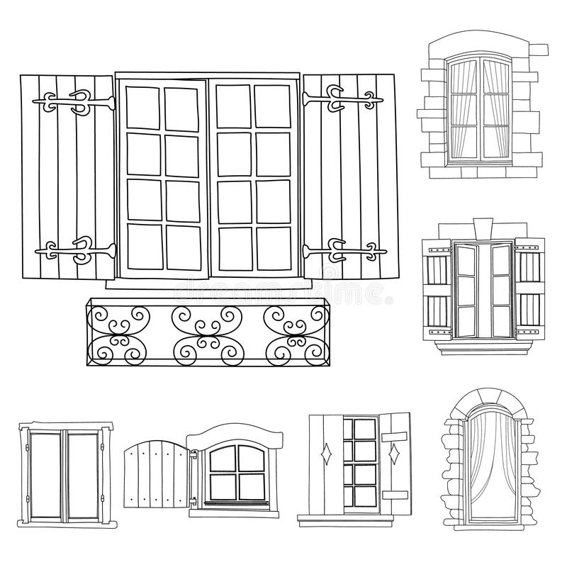 As janelas do vintage ajustaram-se com as flores no potenciômetro ilustração do vetor