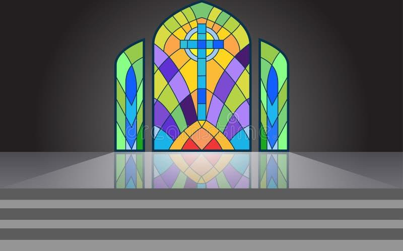 As janelas no templo ilustração stock