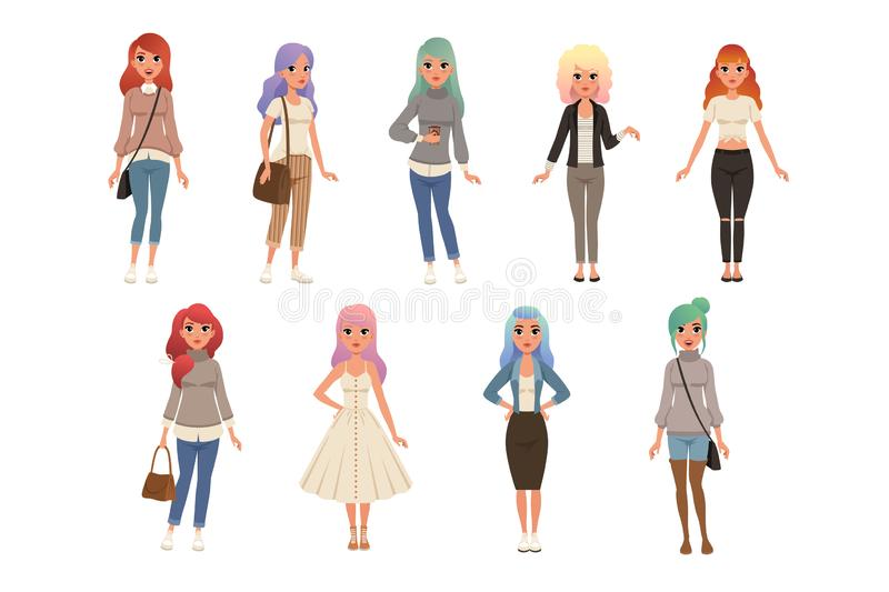 As jovens mulheres bonitas com grupo tingido longo do cabelo, meninas ? moda na forma vestem ilustra??es do vetor em um branco ilustração stock