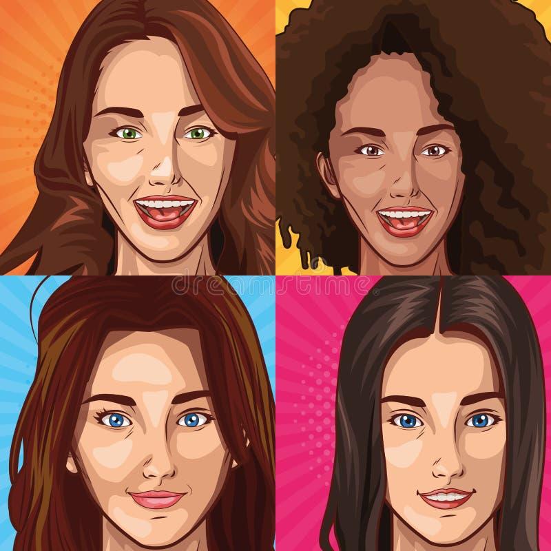 As jovens mulheres do pop art enfrentam desenhos animados de sorriso ilustração do vetor