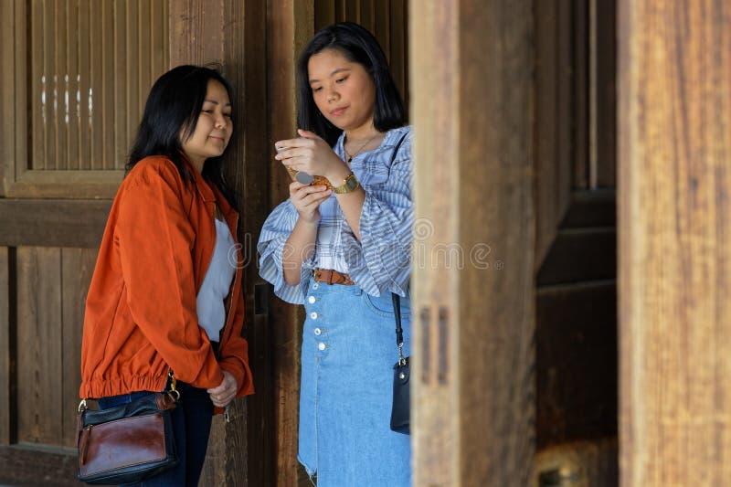 As jovens mulheres olham um smartphone imagem de stock