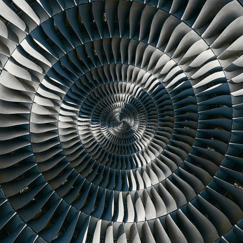 As lâminas de turbina voam o fundo espiral do teste padrão do fractal do sumário do efeito Fundo metálico espiral da turbina da p imagens de stock