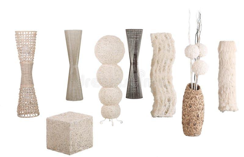 As lâmpadas de assoalho do hyacinth do rattan, do bambu e de água foto de stock royalty free