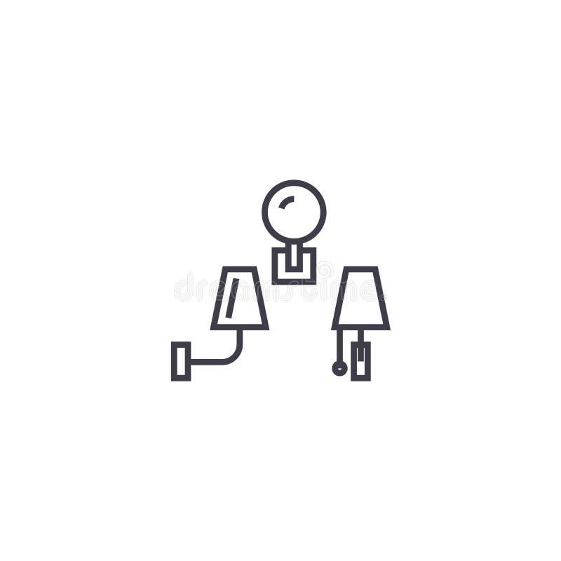 As lâmpadas de parede vector a linha ícone, sinal, ilustração no fundo, cursos editáveis ilustração royalty free