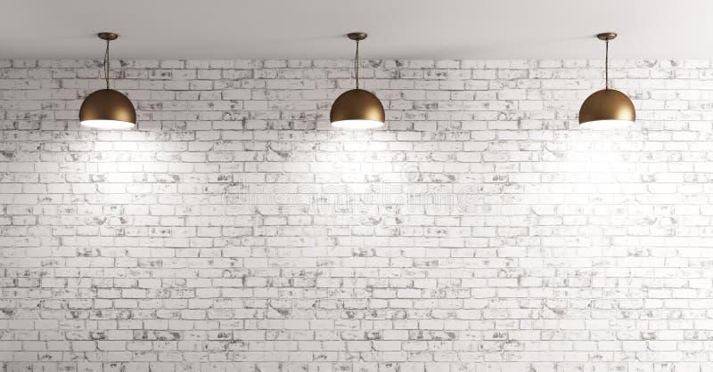 As lâmpadas sobre o fundo interior 3d da parede de tijolo rendem ilustração stock
